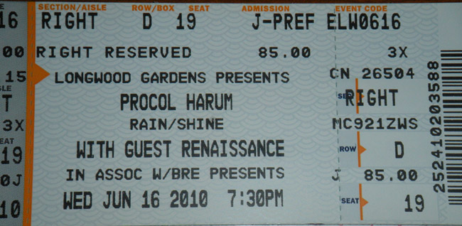 16 june 2010 procol harum at longwood gardens o jenice for Longwood gardens tickets