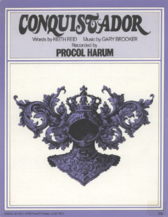 The single sheet music for 'Conquistador', published by Essex Music International Limited, with a copyright date of '1967, 1972' (not '1967, 1971'). The music itself is identical to that on pages 33-35 of 'Conquistador and Other Songs', while the cover is similar but not identical. (Richard Royston)